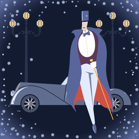 Man in Art deco costume against winter cityscape background Vector