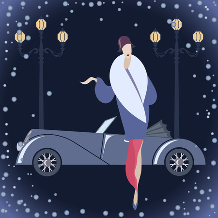 winter car: Woman in Art deco costume against winter cityscape background
