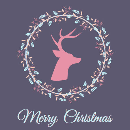 Christmas greeting card with deer silhouette Vector