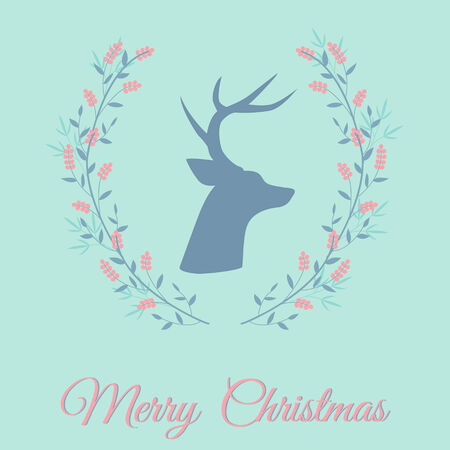 Christmas greeting card with deer  silhouette in floral wreath Vector