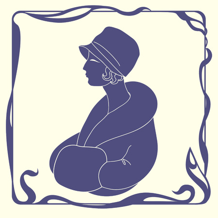 Art deco style woman in hat silhouette Vector