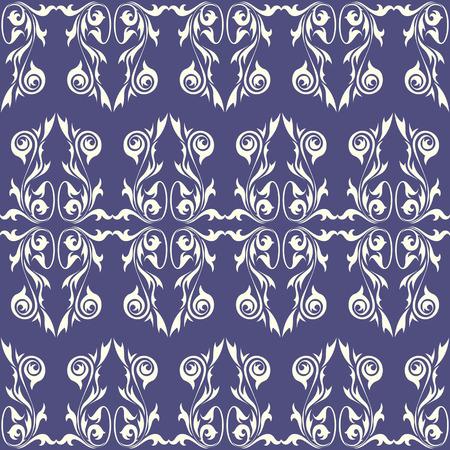 Vintage wallpaper ornament against blue background. Seamless pattern Vector