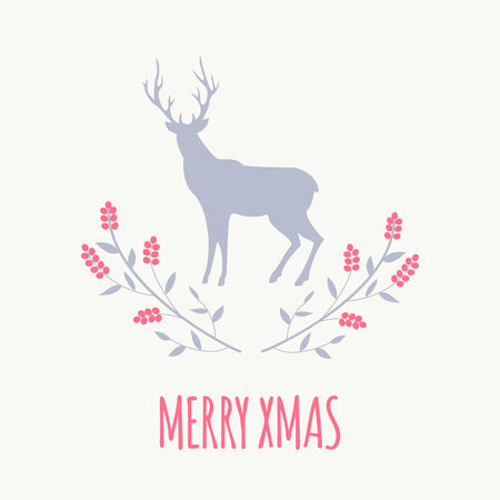 Simple christmas greeting card design with red berries and deer simple christmas greeting card design with red berries and deer stock vector 33003952 m4hsunfo