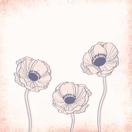 outline drawing: Anemone disegno schematico. Elegante sfondo vettoriale Vettoriali