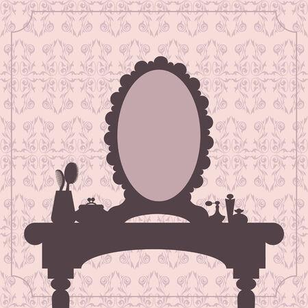 femme dressing: Coiffeuse silhouette avec des accessoires de femme