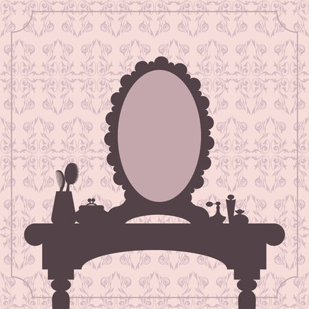 dressing table: Dressing table silhouette with woman accessories Illustration