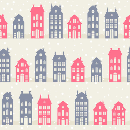 dutch landmark: Amsterdam houses silhouettes in winter. Vector seamless pattern Illustration