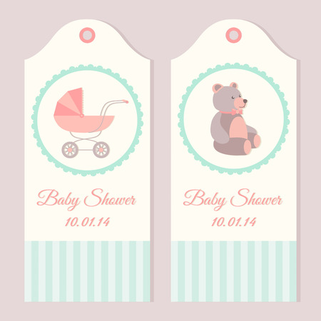 Baby shower invitation card templates with stroller and teddy bear Illustration