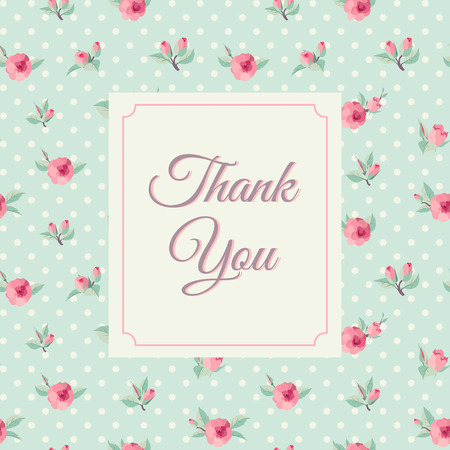Thank you card template  with rose background. Vintage lettering 向量圖像