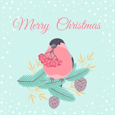 Christmas greeting card with bullfinch bird sitting on a fir branch Vector