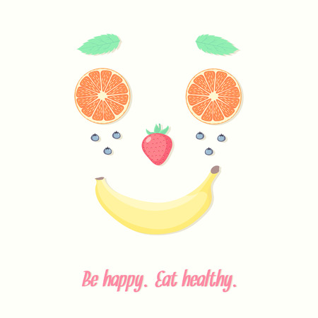 Healthy lifestyle inspiration vector illustration. Face made of fruits and berries.