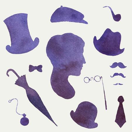 Vector watercolor gentleman portrait and accessories silhouettes Vector