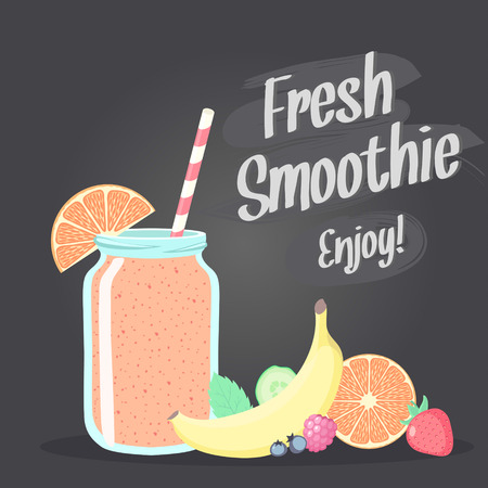 fruit smoothie: Smoothie in jar and fruits vector illustration. Chalkboard background. Illustration