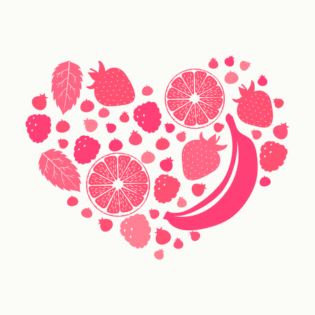 Fruits and berries silhouettes in heart shape. Healthy lifestyle 向量圖像