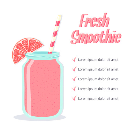 fruit smoothie: Smoothie in a glass jar with straw. Healthy lifestyle. Vector illustration Illustration