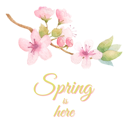 Spring fresh background with blossom tree branch. Vector watercolor. Pastel colors. Illustration