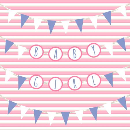 baby birthday party: Baby girl shower card template against striped background