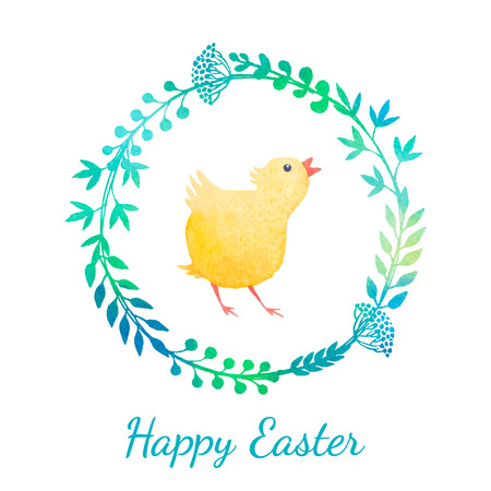 Easter greeting card with chicken in floral wreath. Vector watercolor.