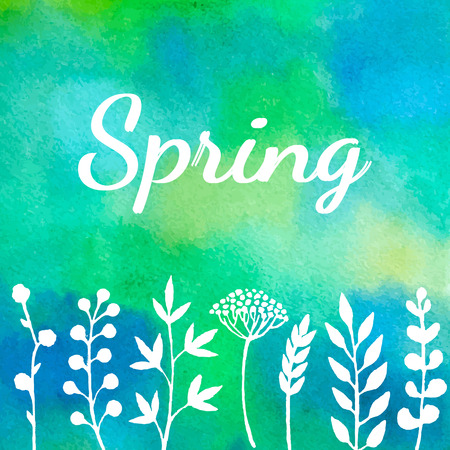 Spring background with plants silhouettes. Vector watercolor.