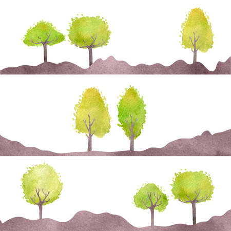 Set of landscapes with green trees. Vector watercolor. Isolated design objects.
