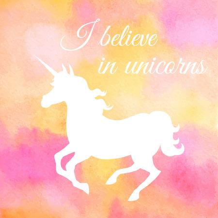 ユニコーンに信じる。水彩背景にピンクのユニコーンのシルエットをギャロッピング