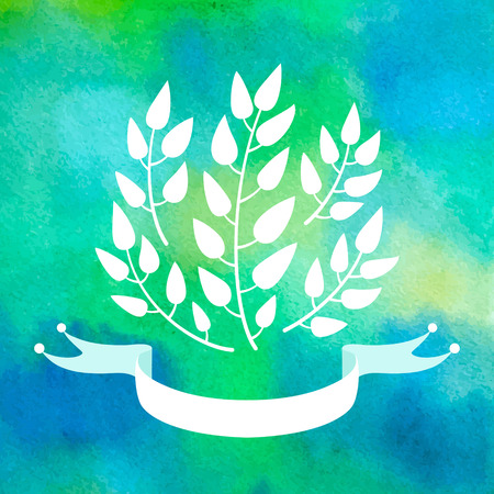 Elegant background with plants silhouettes and banner. Vector watercolor.