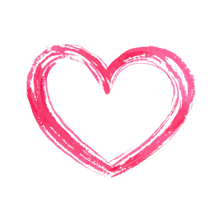 Mano aislada dibuja corazón. Vector acuarela. Fondo romántico. Foto de archivo - 39245881