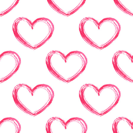 Seamless pattern with hand drawn hearts. Vector watercolor. Romantic background. 向量圖像