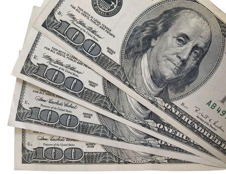 hundred dollar bill: Several one hundred American dollar bills. Isolated.
