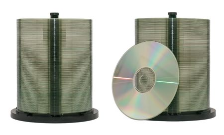 dvdrw: CD or DVD discs on a spindle. Isolated.