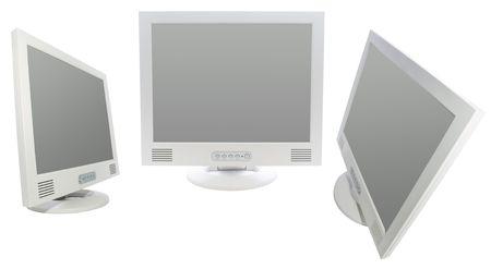 moderm: lcd moderm monitor on white. Stock Photo