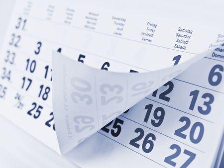 blue toned: Close up a blue toned calendar page    Stock Photo