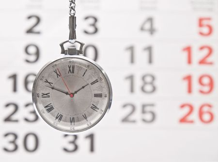 Closeup clock and calendar Stock Photo - 5503539