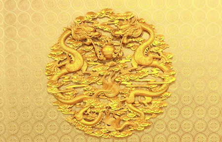 Ancient Chinese Relief with Two Dragons Standard-Bild