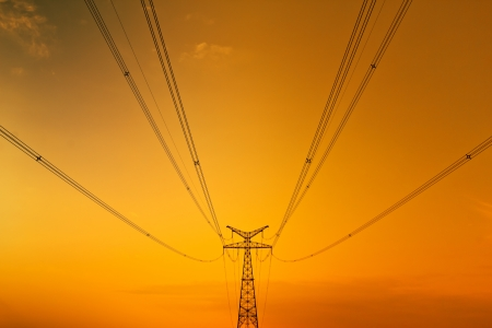 High-voltage tower sky background photo