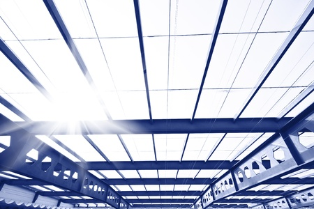 Skylight window close-up toned in the blue color