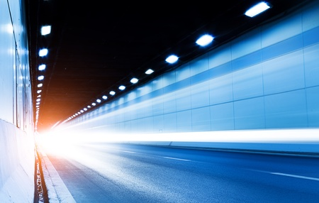 The tunnel at night, the lights formed a line  Standard-Bild