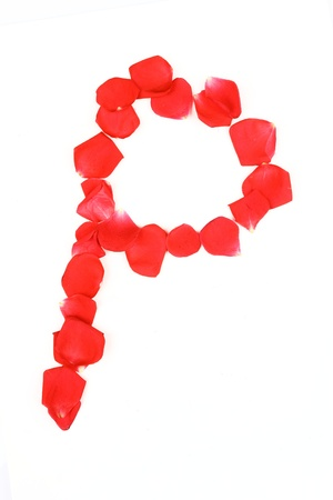numerical: Beautiful made from red Rose petals Letter isolated on a white background Stock Photo