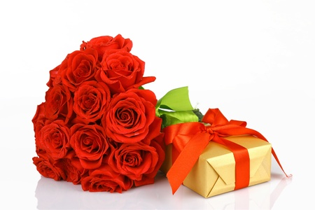 art valentines greeting card with red roses and gift box isolated on white background photo