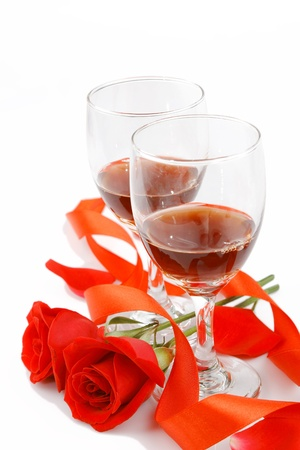 frame with a glass of wine and roses for your design Standard-Bild