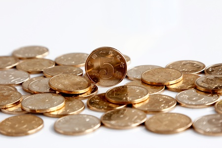 Pile of RMB coins isolated on white backgrounds Stock Photo - 17938177