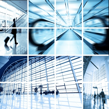 interior of the modern architectural in shanghai airport. Stock Photo