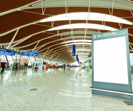 アジアでは、ショットの空港でブランクの看板 報道画像
