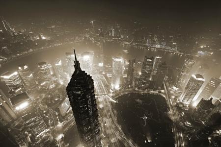 mooi shanghai in de avond, luchtfoto van wereld financieel centrum
