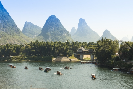 中国桂林の陽朔の日没序説 写真素材
