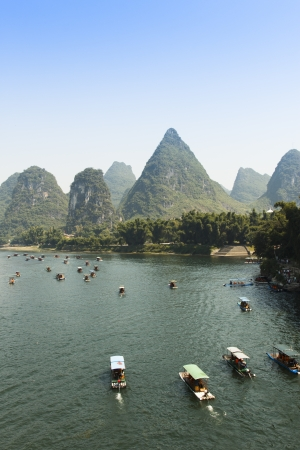 Sunset landscpae of yangshuo in guilin,china photo