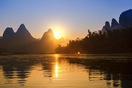 rive: Sunset landscpae of yangshuo in guilin,china Stock Photo