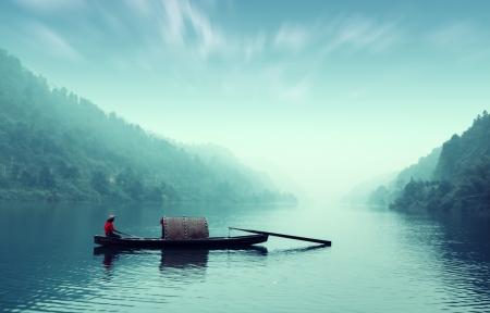 Kleine mooie Dongjiang Rivierlandschap, de vissers Stockfoto