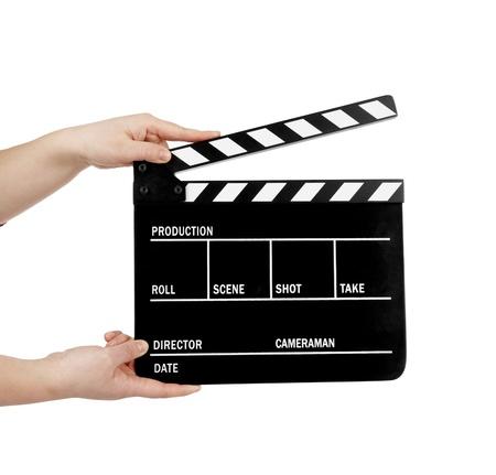 menschliche Hand einen Film clapboard