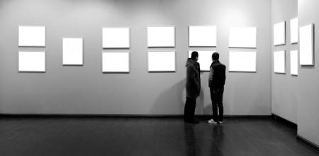 gallery wall: empty frame in art museum